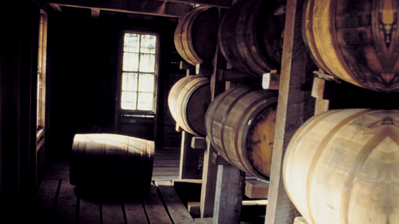 Whiskey is aged in wooden barrels